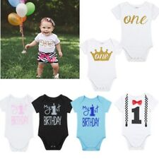 Infant Baby Boys Girls Short Sleeve Romper 1st Birthday Bodysuit Jumpsuit Outfit
