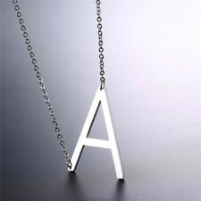A-Z Initial Alphabet Letter Necklace Stainless Steel Personalized Pendant Silver