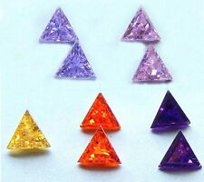 8x8 mm Triangle Cubic Zirconia  Colored Stones  1 piece - assorted colors