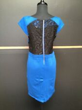 MADISON MARCUS M Blue Cap Sleeve Black Lace Back Exposed Zip Cocktail Dress