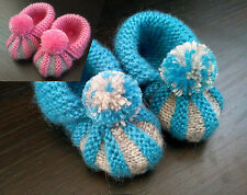 Hand knitted infant baby boy / girl toddler booties. 100% handmade