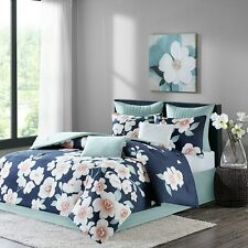 Deluxe Soft Cotton Sateen Blue Floral Comforter 8 pcs Cal King Queen Bedding Set