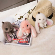 New Arrival luxury real mink fur cute bunny rabbit bag charm phone key pendant