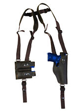 NEW Barsony Brown Leather Vertical Shoulder Holster Mag Pouch Taurus Full Size