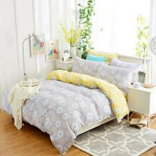 Elegant gray with lovely floral patterns 4PC bed set queen size cotton
