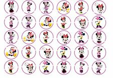 30x Minnie Mouse Edible Cupcake Toppers 35mm Wafer or Icing Birthday Cake
