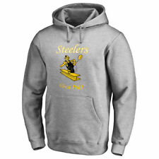 NFL Pro Line Pittsburgh Steelers Gray Throwback Logo Pullover Hoodie - NFL