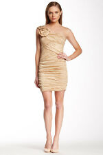 NWT BCBG Max Azria Anett gold one shoulder taffeta dress size 6 SEE DESCRIPTION