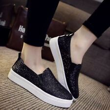 Women Ladies Loafers Shoes Flats Glitter