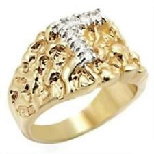 w044 MANS NUGGET SIMULATED DIAMONDS MENS SIGNET RING GOLD PINKY TWO TONE