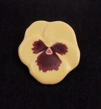 LOVELY VINTAGE AVON PANSY PIN GLAZED YELLOW PORCELAIN FLOWER NEW OLD STOCK 1981