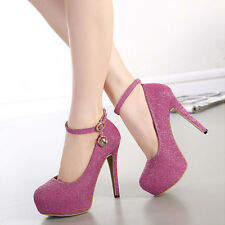 """4.9"""" Pink Sexy Women Wedding High Heel Lace up Ankle Strap Ballet Designer Shoes"""