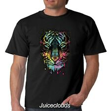 NEW Neon Tiger Men's T-Shirt Tiger Splash Big Cat Tee Shirt