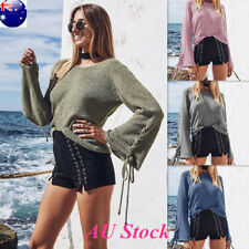 AU Women's Knitted Flare Bell Long Sleeve Blouse Shirt Ladies Casual Loose Tops