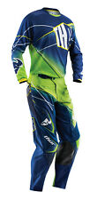 Thor Navy Blue Fluorescent Green Phase Prism Mens Youth Dirt Bike Jersey & Pants