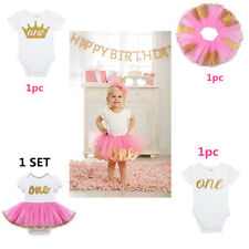 Toddler Baby Girls Romper Dress Princess First Birthday Tutu Skirt Outfits Party