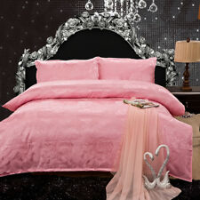 Lavish Pink With Noble Rose Pattern 4PC Bed Set 100% Cotton Queen&King Size