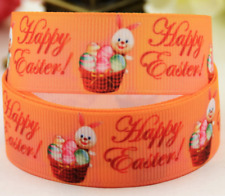"""Grosgrain Happy Easter Bunny with Easter Eggs Ribbon 7/8"""""""" 22mm"""