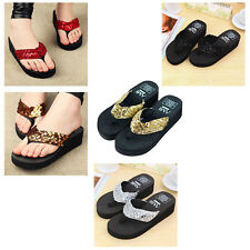 female slippers wedges platform slip-resistant paillette beach flip flops K9U4
