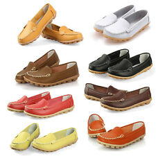 Women Flats 100% Genuine Leather Shoes Slip-on Comfort 8 Colors Moccasins S1Y6