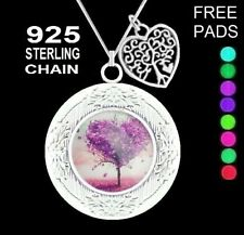 Tree of Life Heart Aromatherapy Oil Diffuser Photo Locket 925 Chain Necklace JBK