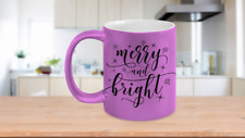 Seasonal Coffee Mugs - Merry And Bright - 11oz White Ceramic Coffee Cup With Ins