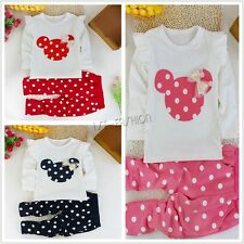 Baby Kids Girl Clothes 2Pcs Mouse Polka Dot Top+Pants Dress Cartoon Outfits Set