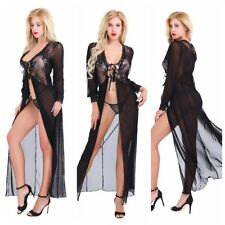 Sexy Black Women Split Lingerie Nightwear Lace Sleepwear Dress Babydoll G-String