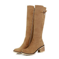 NEW Womens Med Heel Knee High Boots Shoes Cuban Popular Buckle AU Size YDXS0052
