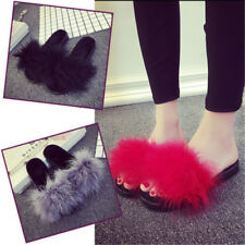 Sandals Open Toe Feather Fluffy Feather Women Marabou Mules Sliders Slippers