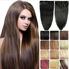 130G 7PCS 16''18''20''22''24'' Clip in Remy Extensions 100% Human Hair Full Head