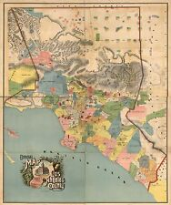 Poster Print Antique Old Maps 1888 Rowans Official Map Of Los Angeles County