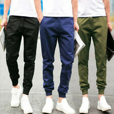 Fashion Mens Summer Solid Color Slim Ankle Length Casual Pants Trousers M-XXL