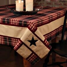 New Primitive Country VILLAGE BLACK STAR TABLECLOTH Wine Tan Plaid Table Cover