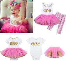 Infant Baby Girls ONE Year First Birthday Romper/Top Dress+Pants Outfits Clothes