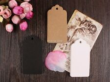 50/1000pc Brown Kraft Gift Tags Wedding Scallop Label Blank Luggage + Strings T1