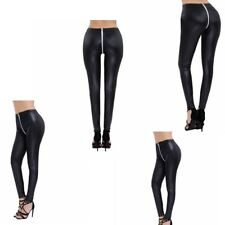 Fashion Women Shiny Faux Leather Stretchy Pants Leggings Pencil Tight Trousers