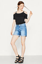 NEW Esprit Womens Off-the-shoulder top in soft blended cotton BLACK