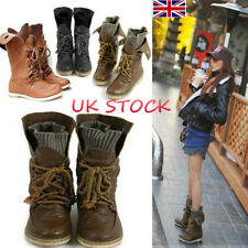 UK Ladies Mid Calf Boot Lace Up Flats Motorcycle Chunky Slouch Boots Ankle Shoes