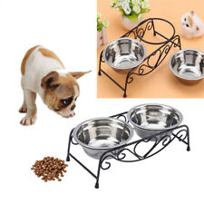 Cat dog double bowl dish coupler food raised water drink feeding stainless steel