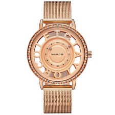 TC Women Lady Crystal Bling Diamond Braided Steel Band Analog Quartz Wrist Watch