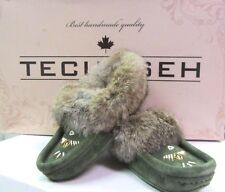 SALE! 50% OFF. WOMEN'S GREEN SUEDE INDOOR MOCCASINS WITH RABBIT FUR SIZES 4-11