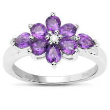 Sterling Silver Amethyst & Diamond Cluster Engagement Ring