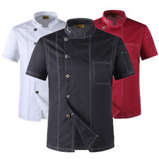 Chef Coat Jacket Men Kitchen Short Sleeve Women Restaurant Unisex Uniform Cloth