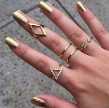 5pcs/Set Rings Midi Above Band Girl Gold Silver Tip Finger Stacking Knuckle Ring