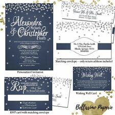 Under the Stars Wedding Invitation Set Navy Silver White RSVP Card Envelopes
