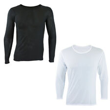 Men's Crew Neck Long Sleeve Mesh T-Shirt Slim Fit Casual Solid Basic Tee Shirts