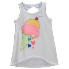 Toughskins Girls White Sparkle Ice Cream Tank Top Shirt High Low Bow Back 5 6 6X