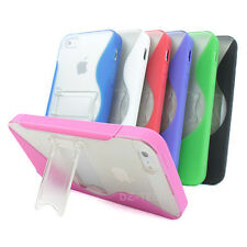 For Apple iPhone 5S 5 S-Line Ultra-Thin Glossy TPU Phone Case Cover Kickstand