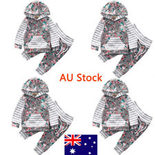AU Newborn Girls Floral Jumpsuit Toddler Kids Striped Outfit Infant Soft Hoodie